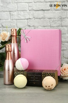 Rose Gold Sparkling Wine Bath Bombs Trio Gift Set by Le Bon Vin