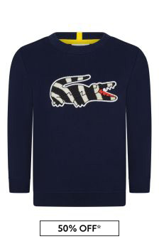 Boys Cotton Navy Crew Neck Zebra Crocodile Sweatshirt