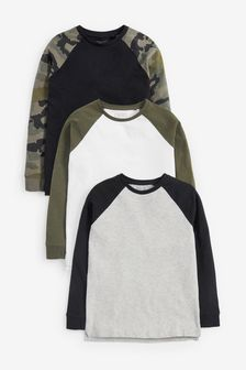 3 Pack Camo Raglan T-Shirts (3-16yrs)