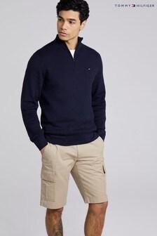 Tommy Hilfiger Blue Zig Zag Zip Mock Neck Sweater