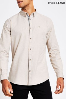 River Island Stone Oxford Shirt