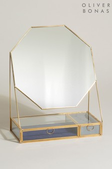 Oliver Bonas Octagonal Velvet Dressing Table Mirror