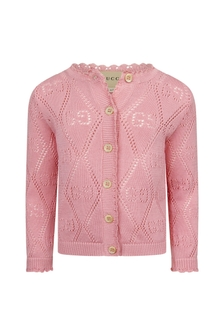 GUCCI Kids Baby Girls Pink Cotton Cardigan