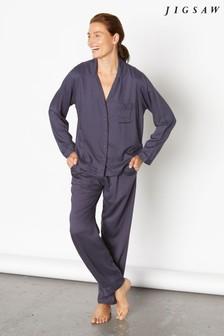 Jigsaw Blue Luxe Herringbone Pyjamas