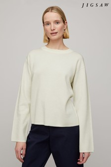 Jigsaw Cream Double Faced Crew Neck Jumper