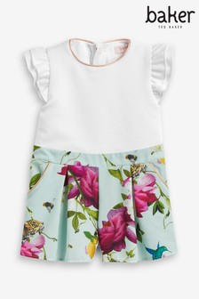 Baker by Ted Baker Girls Turquoise Floral Playsuit