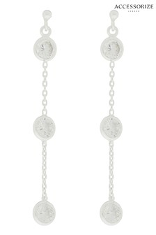 Accessorize Sterling Silver Sparkle Station Drop Earrings