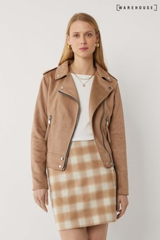 Warehouse Brown Faux Suede Biker Jacket