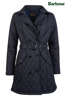 Barbour® Tartan Black Quilted Cornell Trench Coat