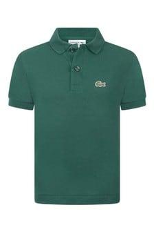 Boys Green Cotton Pique Polo Top