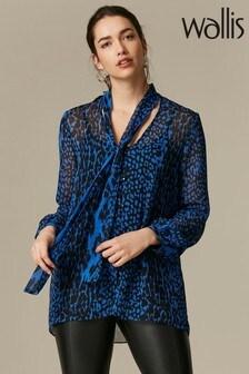 Wallis Blue Animal Print Tie Neck Blouse