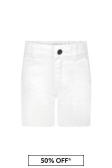 Boss Kidswear Baby Boys White Cotton Shorts