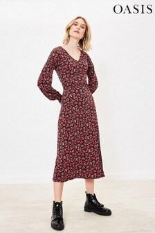 Oasis Black Crowded Rose V-Neck Midi Dress