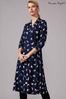 שמלה פרחונית בגזרת מעטפת של Phase Eight דגם Hiroka בכחול