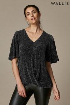 Wallis Glitz T-Shirt mit Flügelärmeln, schwarz