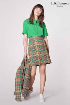 L.K. Bennett Cream Bonnie Tweed A-Line Skirt