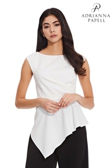 Adrianna Papell White Knit Crepe Peplum Top