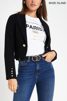 River Island Black Crop Jersey Jacket