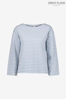 Great Plains White Bebe Breton Wide Neck Top