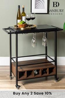 Banbury Designs Black Marble/Dark Walnut 34 Modern Industrial Bar Serving Cart