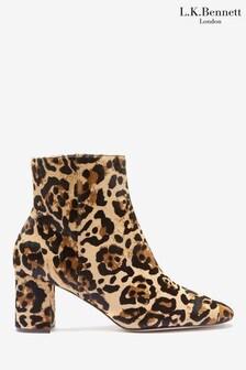 L.K.Bennett Leopard Jette Calfhair Ankle Boots