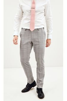 Grey Slim Fit Check Suit: Trousers with Motionflex Waistband