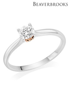 Beaverbooks Hearts 18ct White Gold And Rose Gold Diamond Solitaire Ring