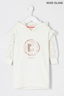 River Island Cream Lace Sleeve Sweat Dress