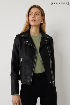 Warehouse Black PU Biker Jacket