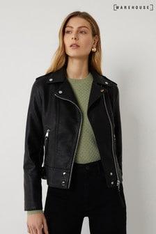 Warehouse Black PU Biker Jacket