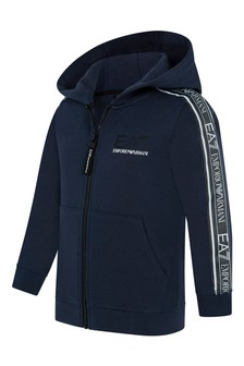 Boys Navy Cotton Zip-Up Top