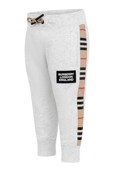 Baby Girls White Cotton Joggers