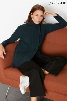 Jigsaw Green Milano Knit Long Jacket