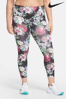 Nike The One Black Floral 7/8 Leggings