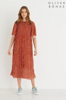 Oliver Bonas Brown Nomad Print Pleated Midi Dress