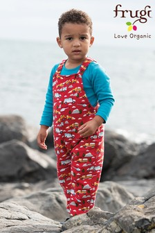 Frugi Red GOTS Organic Dungarees And Body Set