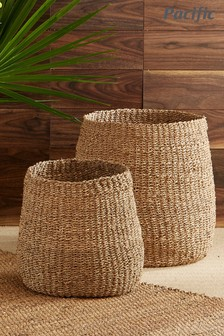 Set of 2 Natural Woven Seagrass Storage Baskets by Pacific Lifestyle