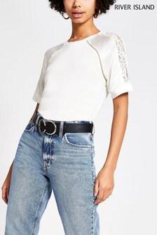 River Island Cream Satin Lace Mix Shoulder T-Shirt