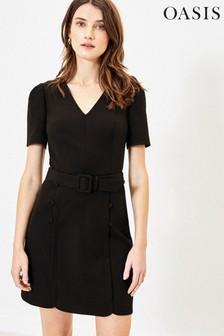 Oasis Black Button Detail Shift Dress