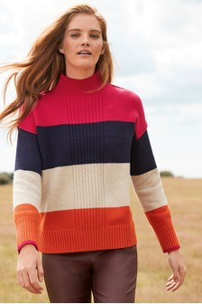 Rib Detail Funnel Neck Jumper