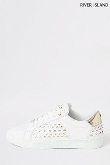 River Island White Lace-Up Plimsoles
