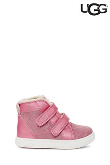 UGG Pink Glitter Rennon II Velcro High Top Trainers
