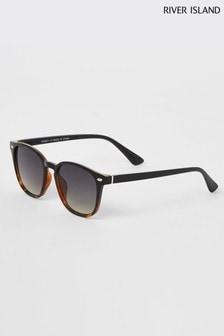 River Island Wayfarer-Sonnenbrille mit Schildpatt mit Farbverlauf, Schwarz