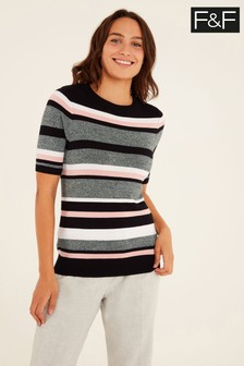 F&F Stripe Crew Neck T-Shirt