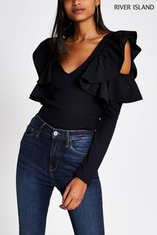 River Island Black Frill Rib Cold Shoulder Top