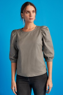 Puff Sleeve Coated Top