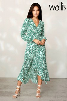 Wallis Figurbetontes Midi-Kleid mit floralem Motiv, grün