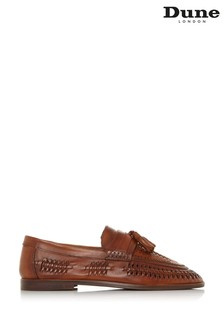 Dune London Burlingtons Tan Leather Weave Tassel Loafers