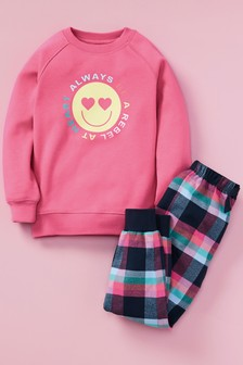 Cosy Bright Sweat Top With Woven Bottoms Pyjama Set (3-16yrs)