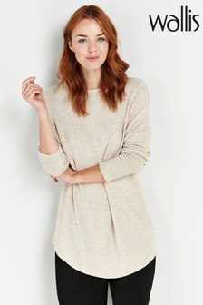 Wallis Stone Embellished Knitted Top